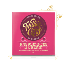 Willies Cacao Čokoláda EL BLANCO bílá s malinami, 50g