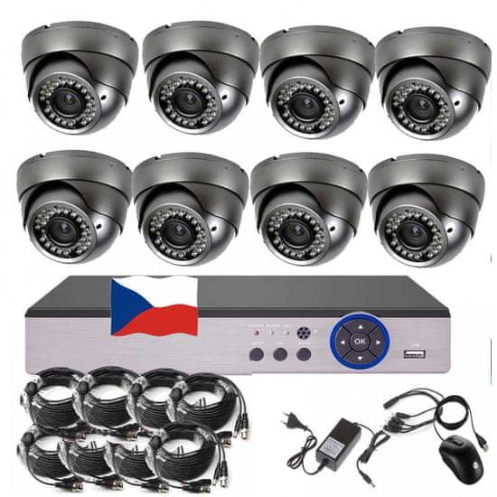 Eonboom 8CH 5MPx STARVIS kamerový set CCTV VR8D - DVR s LAN a 8x venkovní dome vari kamera
