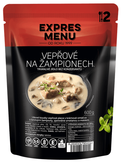 Expres Menu Vepřové na žampionech 600g (2 porce)
