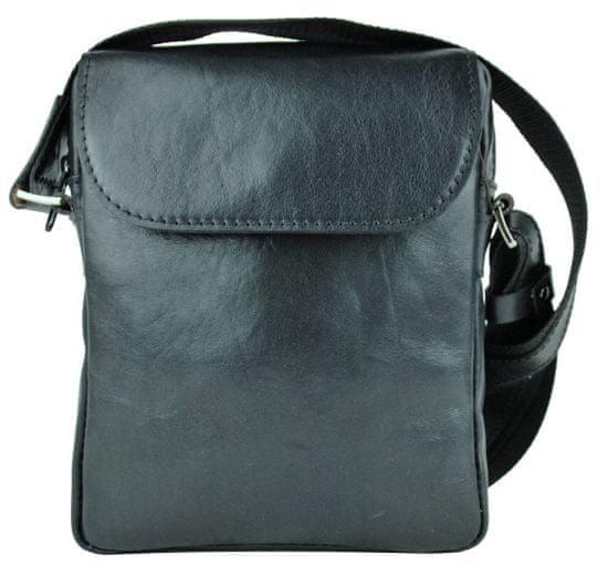 VegaLM Kožená crossbody taška z lesklej hovädzej kože v čiernej farbe