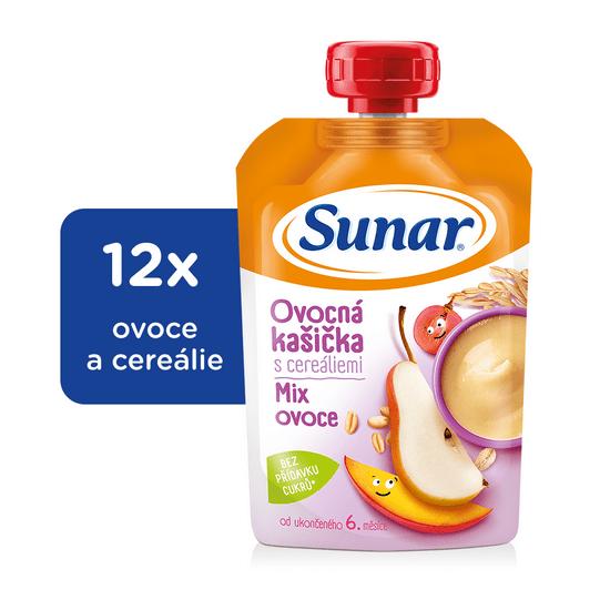 Sunar Ovocná Kašička s cereáliami mix ovocia 12x120g
