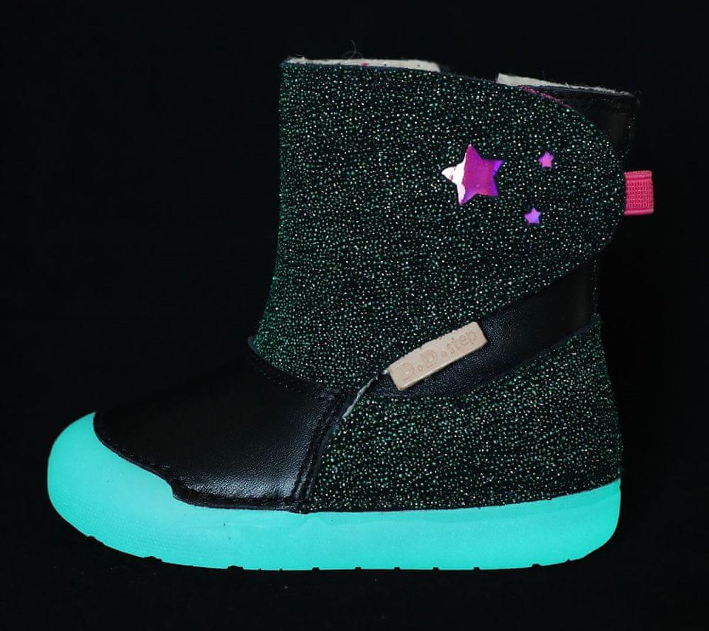 D-D-step dívčí zimní svítící kotníčková obuv 066-587 23 černá