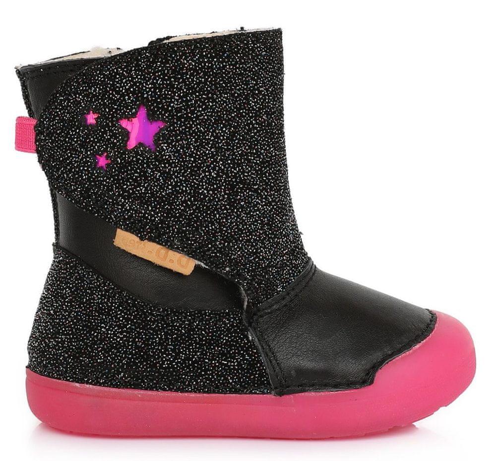 D-D-step dívčí zimní svítící kotníčková obuv 066-587 20 černá