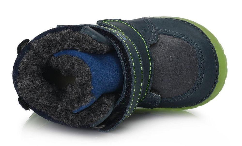 D-D-step chlapecká zimní svítící kotníčková obuv 029-782B 20 tmavě modrá