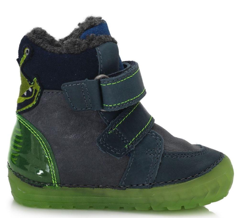 D-D-step chlapecká zimní svítící kotníčková obuv 029-782B 24 tmavě modrá