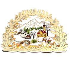 AMADEA Dřevěný svítící portál s motivem vesničky, barevný, 53 cm