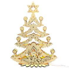 AMADEA Dřevěný svítící portál strom vánoční, 47x36,5x10 cm