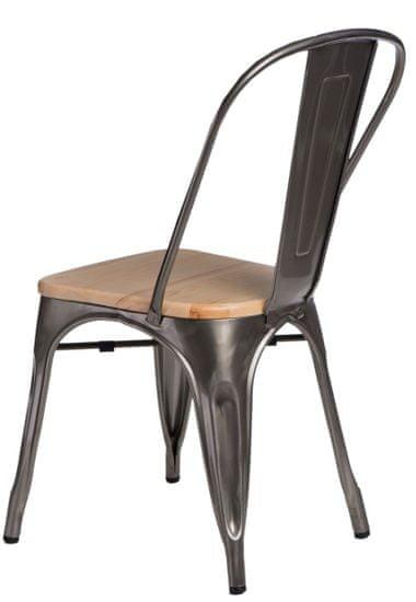 shumee Kovinski stol Paris Wood. naravni bor