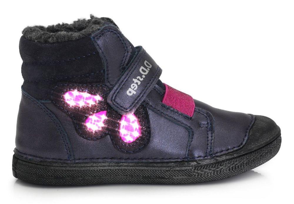 D-D-step dívčí zimní svítící kotníčková obuv 049-762A 29 tmavě modrá