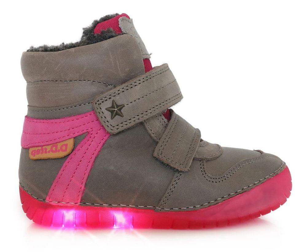 D-D-step dívčí zimní svítící kotníčková obuv 050-667 26 šedá
