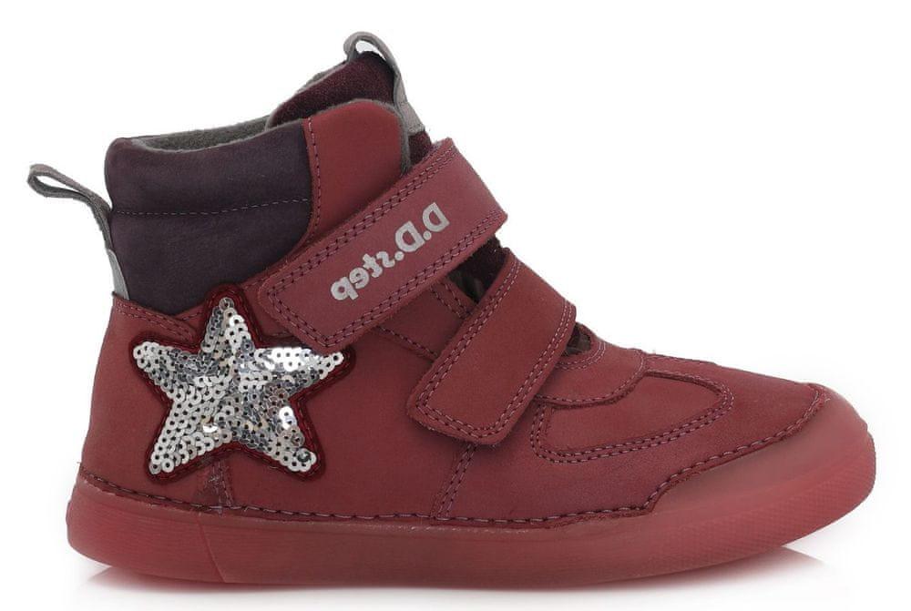 D-D-step dívčí zimní svítící kotníčková obuv 068-642C 34 červená