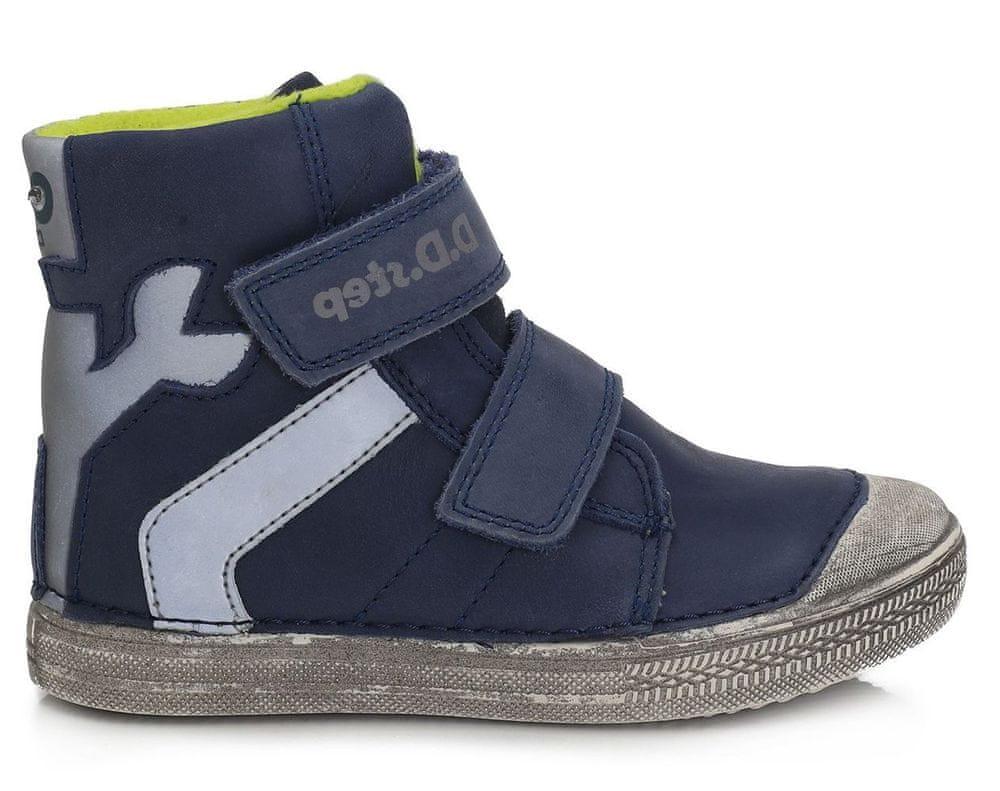 D-D-step chlapecká zimní svítící kotníčková obuv 049-359B 33 tmavě modrá