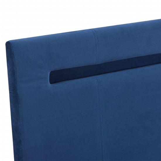 shumee Posteljni okvir z LED osvetlitvijo modro blago 140x200 cm