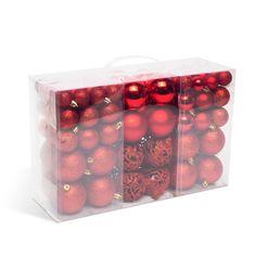 Family Christmas Set za okrasitev božičnega drevesca and kroglice and 100 kosov / paket and rdeča