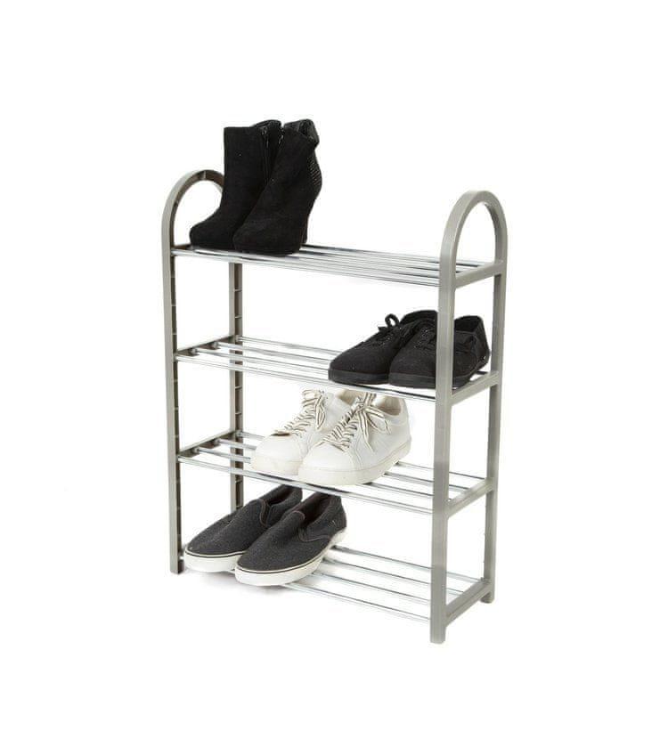 Compactor Čtyřpatrový botník Poly na 12 párů bot, Polypropylen - chrom, 49,5 x 18,4 x 65 cm