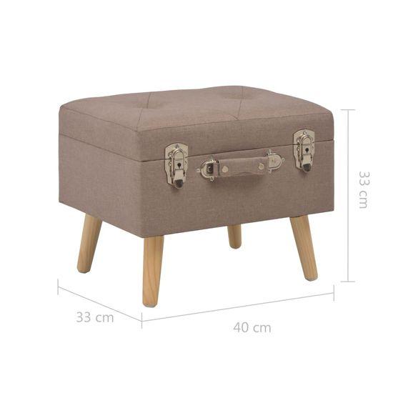 Greatstore Úložná stolička 40 cm hnedá látková