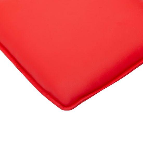 shumee Naslanjač s stolčkom za noge rdeče umetno usnje