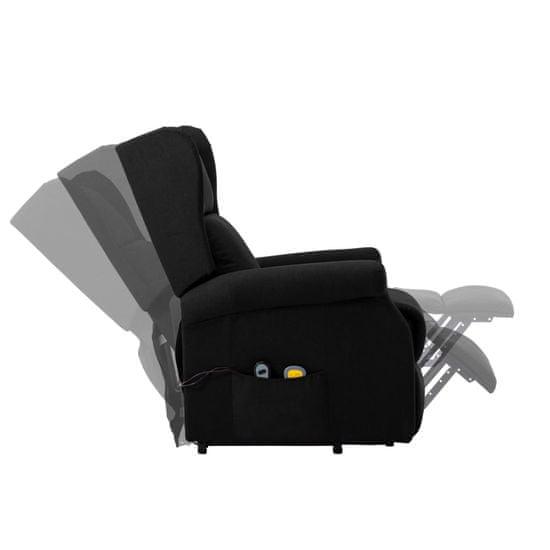 shumee Fotel pionizujący z funkcją masażu, czarny, tkanina