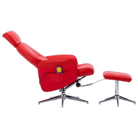 Greatstore Sklápacie masážne kreslo s podnožkou, červené, umelá koža