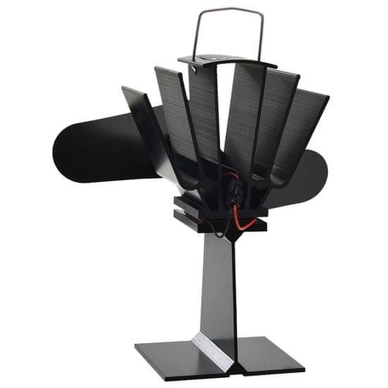 Greatstore Teplem poháněný ventilátor na kamna 2 lopatky černý