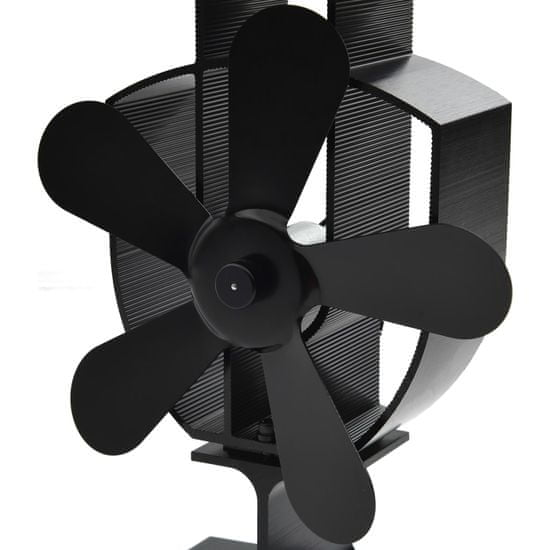 shumee Ventilator za kamin na toploto s 5 krili črn