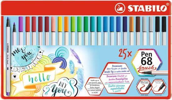 "Stabilo Štetcovitá fixky ""Pen 68 brush"", 25 farieb, kovová krabička"