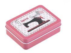 Kraftika 1ks růžová plechová krabička na šití, košíky kazety