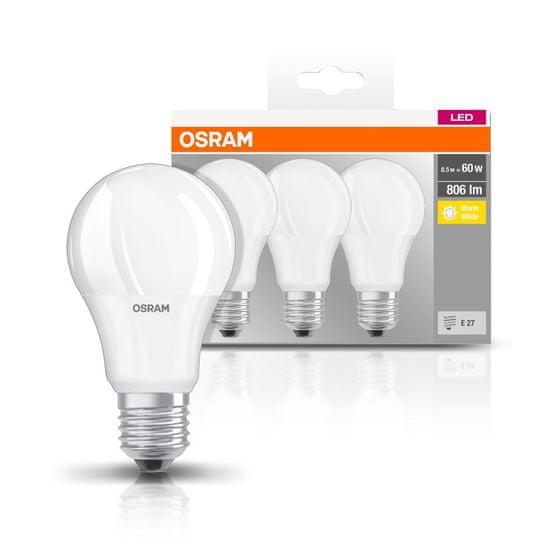 Osram LED BASE CL A FR 60, nestmívatelné, 8,5 W / 827, E27, 3 ks