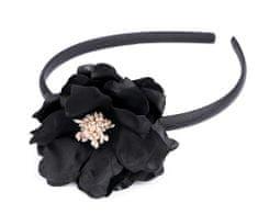 Kraftika 1ks černá saténová čelenka s květem, čelenky zdobené