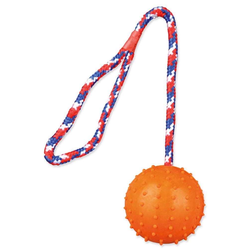 Trixie Hračka míč gumový s lanem 7 cm, 2 ks