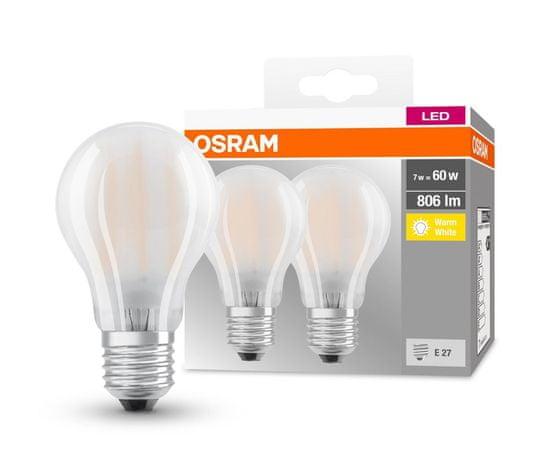 Osram LED FIL CL A 60 FR, 7,2 W / 827, E27 GL FR, 2 ks