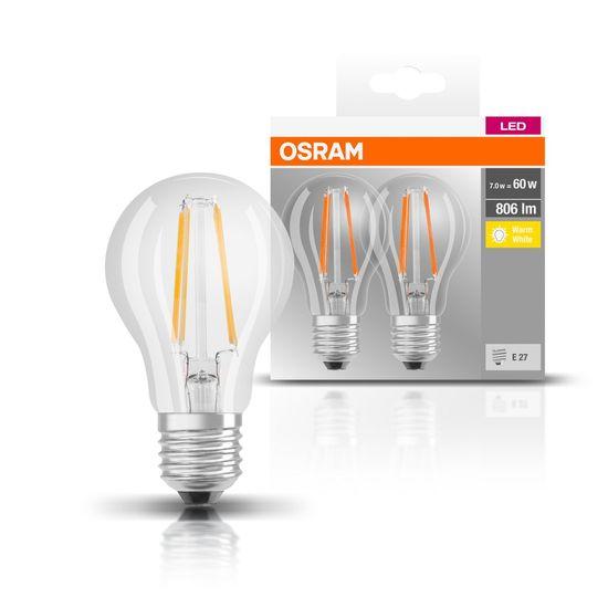 Osram LED FIL BASE CLA60, 7 W / 827, E27 CL, 2 ks