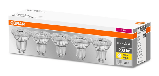 Osram žarulja LED BASE PAR16 35, neprozirna, 36° 2,6 W / 827, GU10, 5 komada