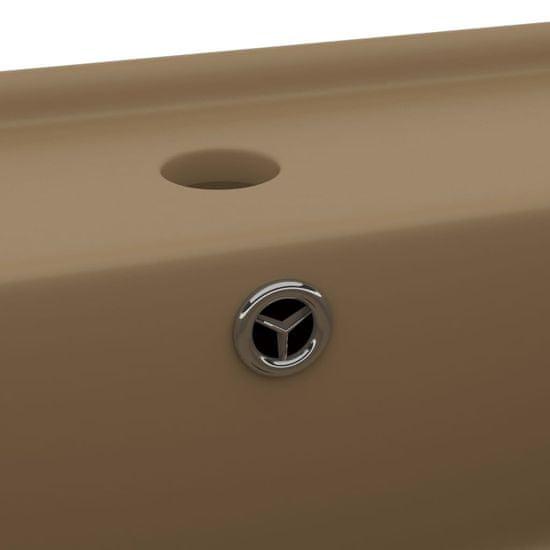shumee Kwadratowa umywalka z przelewem, matowy kremowy, 41x41 cm