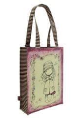 Santoro Gorjuss nakupovalna torba, 25x35x9,5 cm, prevlečena s PVC, sivo-roza