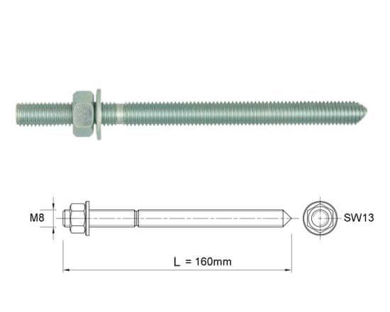 Rawlplug Závitová tyč pro chemickou kotvu M8x160 -1ks