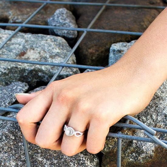 Beneto Stříbrný prsten s krystaly a pravou perlou AGG205 stříbro 925/1000
