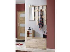 Nejlevnější nábytek Předsíňová stěna WAKAYA (věšák, botník, zrcadlo), dub sanremo