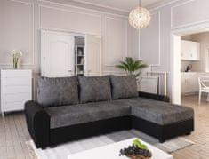 Nejlevnější nábytek Rohová sedačka DAKAR, tmavě šedá látka/černá ekokůže