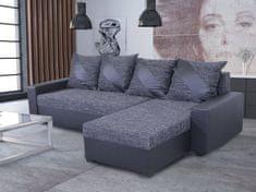 Nejlevnější nábytek Rohová sedačka ASTANA, černá látka/černá ekokůže