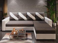 Nejlevnější nábytek Rohová sedačka ASTANA, tmavě šedá látka/bílá ekokůže