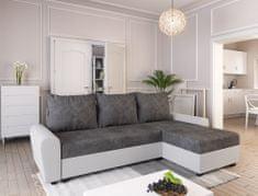Nejlevnější nábytek Rohová sedačka DAKAR, tmavě šedá látka/bílá ekokůže