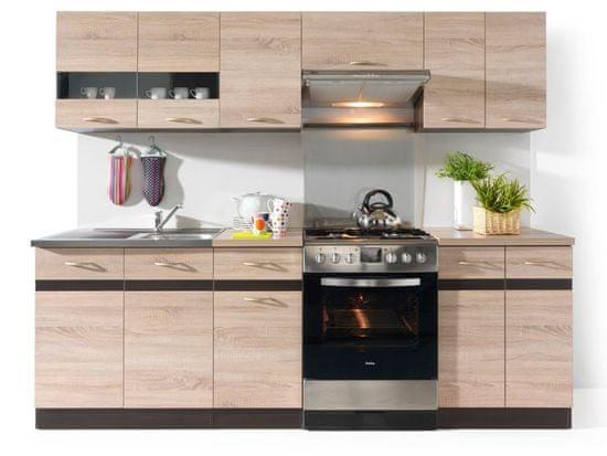 Nejlevnější nábytek Kuchyně JAMISON 180/240 cm, korpus wenge/dvířka dub sonoma
