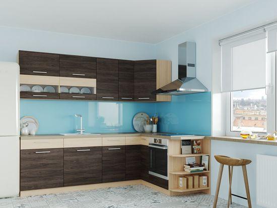 Nejlevnější nábytek Rohová kuchyně RUTHIN 250x170, rijeka tmavá