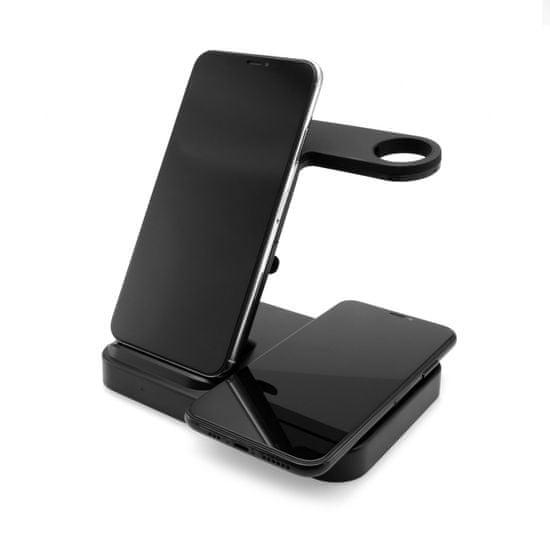 FIXED Stojanček Powerstation s bezdrôtovým nabíjaním až pre 3 zariadenia FIXPOS-BK, čierny