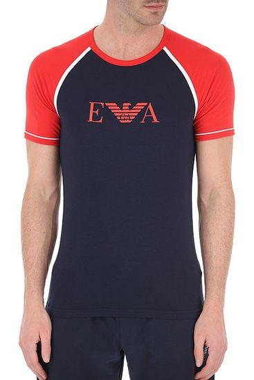 Emporio Armani Pánské tričko 111811 0P529 00135 modročervená - Emporio Armani modro-červená L