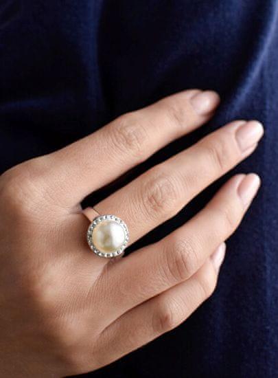 Evolution Group Srebrny pierścionek z perłąz kryształkami Swarovski London Style 35021.1 srebro 925/1000