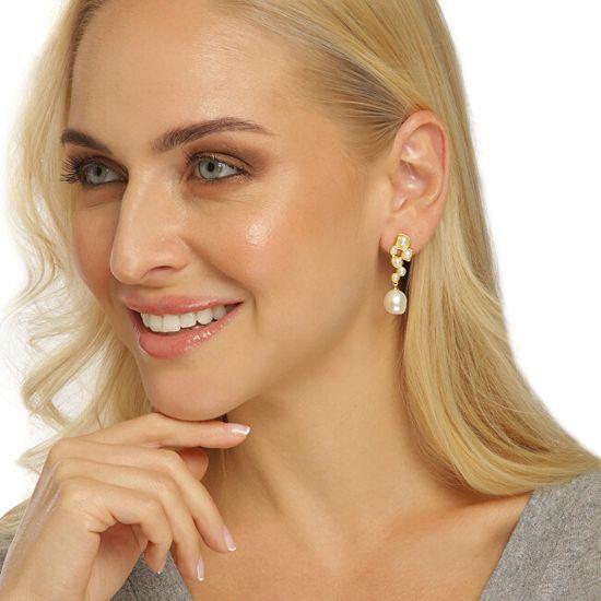 JwL Luxury Pearls Pozlačeni biserni uhani JL0655
