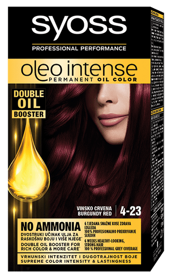 Syoss Oleo Intense barva za lase, 4-23 vinsko rdeča