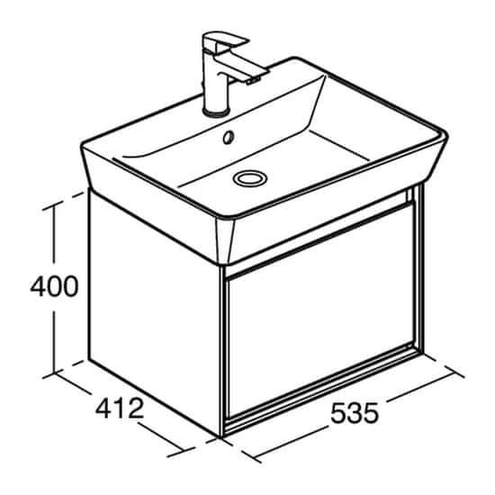 Ideal Standard Ideal Standard Connect Air - Skrinka pod umývadlo CUBE 53,5x41,2cm, Lesklá biela + matný biely lak E0846B2